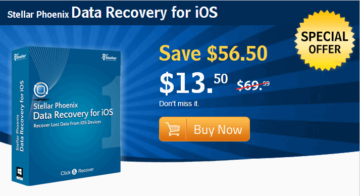 Recover data from iPhone 5s/5c/5/4s/4 with Stellar Data recovery for iOS [Discount 81%]
