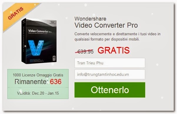Get FREE Serial Number of Wondershare Video Converter Pro $40