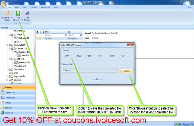 Stellar OST to PST Converter – Converts Outlook OST file to PST file
