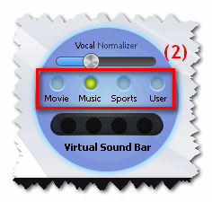 Virtual Sound Bar sound modes