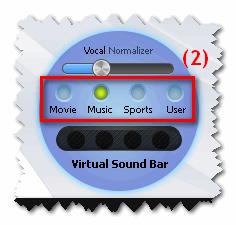 Virtual Sound Bar sound modes