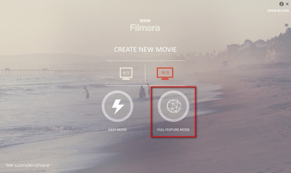 Filmora Full Feature mode