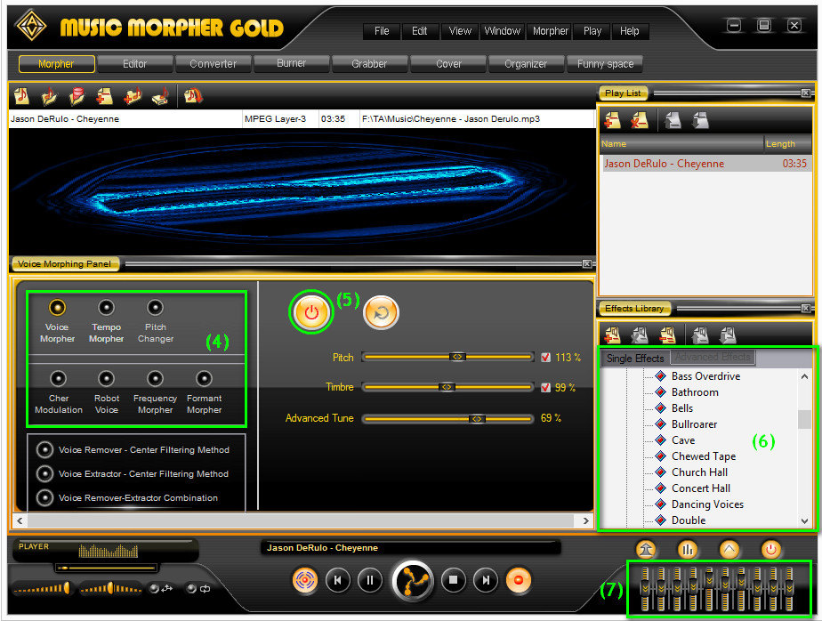 Adjust audio settings in Audio4fun Music Morpher Gold