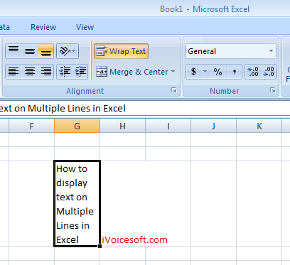 "When ""Wrap text"" is turned on, text in a cell is displayed in multiple lines automatically, depend on width of column."