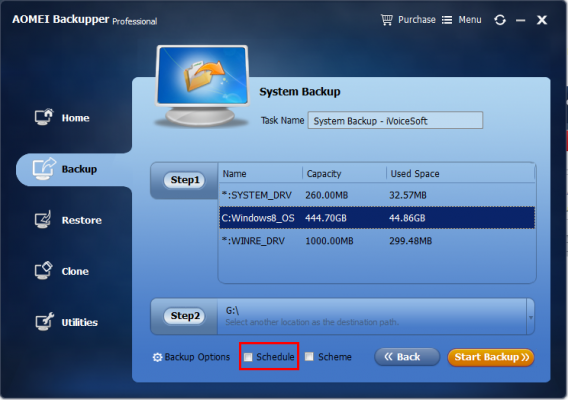 Choose schedule backup system