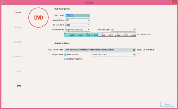 Export videos to DVDs