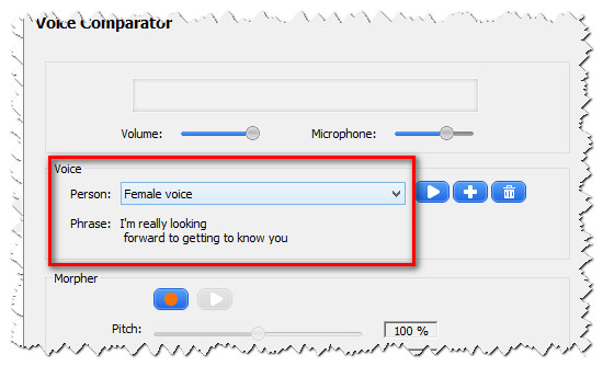 VCS Voice Comparator settings applied