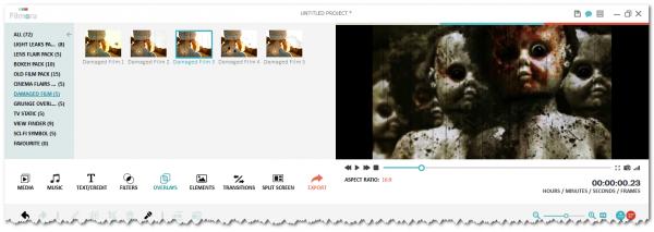 Damanged film overlay