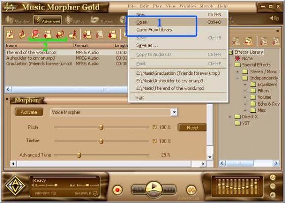 Open file in AV music morpher gold