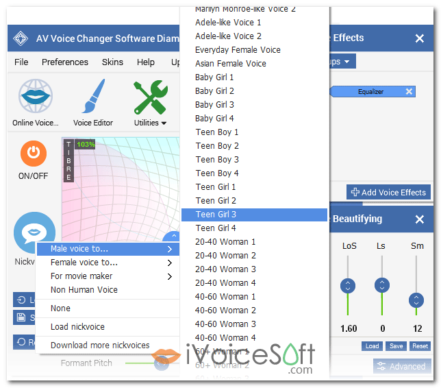 Voice Changer Software Diamond 9.5, Male to Female voice
