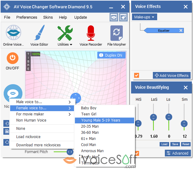 Voice Changer Software Diamond 9.5 female voice