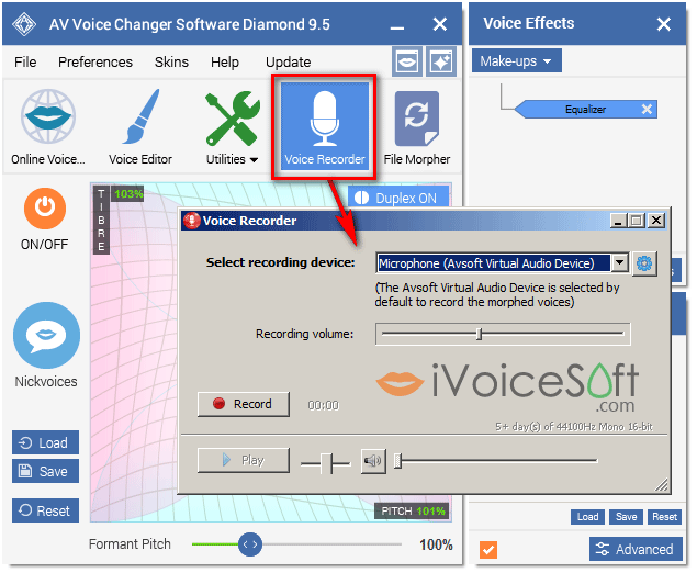 Voice Changer Software Diamond: Voice-over recorder