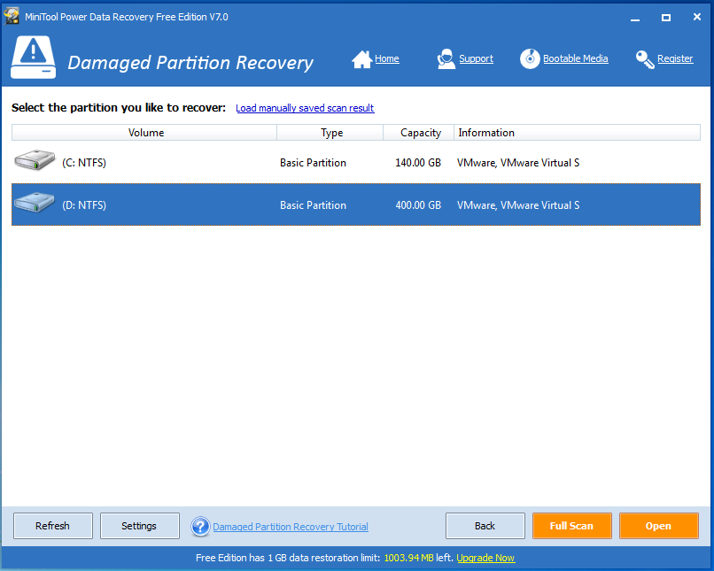 Choose the damaged partition scan and recovery