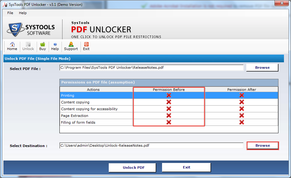 Permissions Before indicate that before unlocking the PDF file