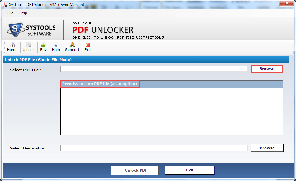 Permissions on PDF Files box