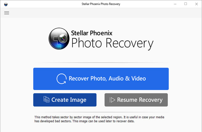 Home screen Stellar Phoenix Photo Recovery