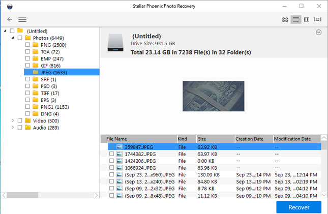 Stellar Phoenix Photo Recovery preview recovered file
