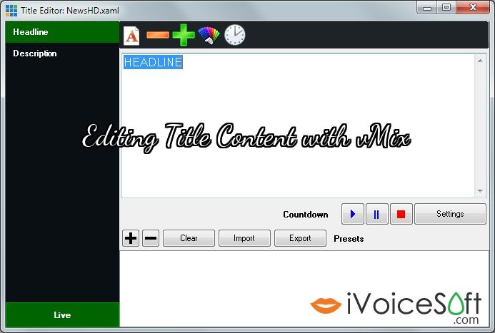 Editing Title Content with vMix