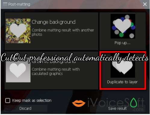 CutOut professional automatically detects
