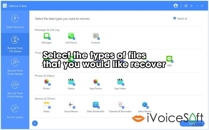 Select the types of files  that you would like recover