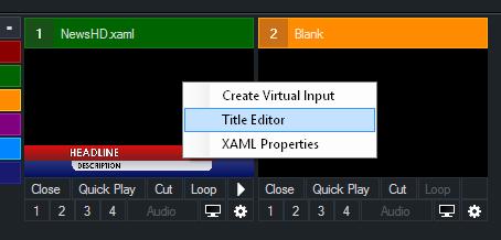 Editing Title vMix