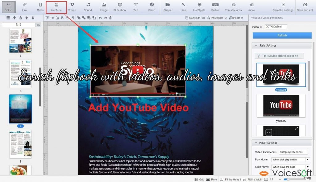 Enrich flipbook with videos, audios, images and links