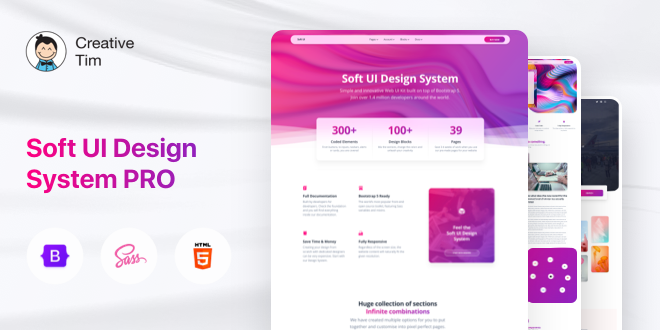 Soft UI Design System is ready to help you create stunning websites and webapps.