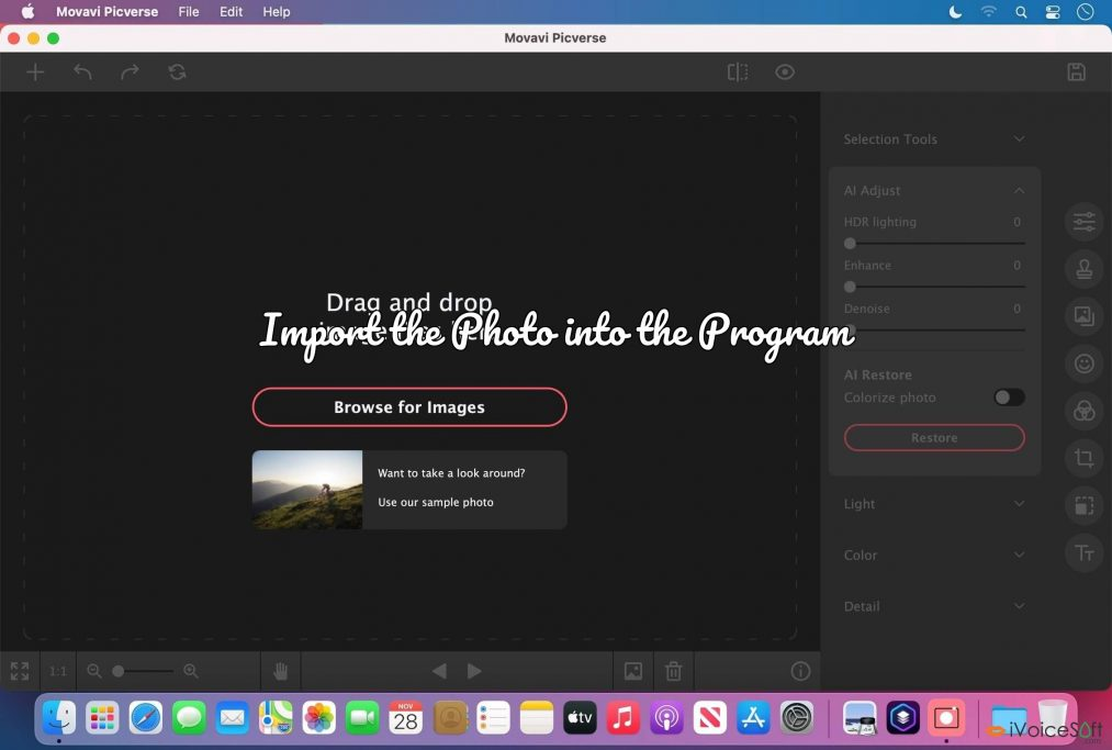Import the Photo into the Program