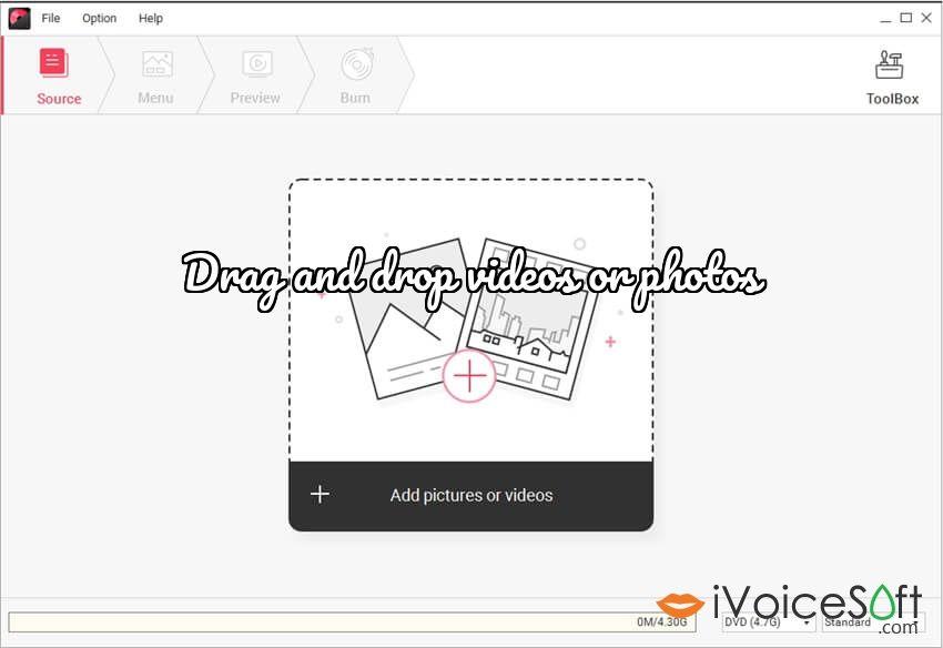 Wondershare DVD Creator, Drag and drop videos or photos